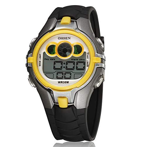 OHSEN - Reloj electrónico Deportivo para niños y niñas, Resistente al Agua, Correa de Goma, Color Azul