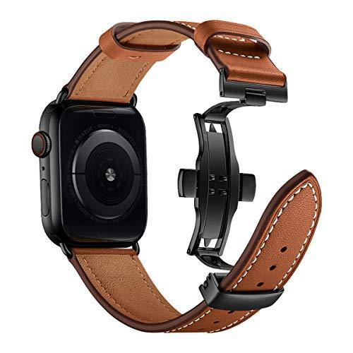 iBazal 42mm 44mm Polsbandjes Vervanging Voor iwatch Serie 5 4 3 2 1 Riemen 44mm 42mm Lederen Horloge Polsbandjes Riem Armbanden Horlogebanden met Vlindersluiting Heren - Bruin/Zwart 42/44