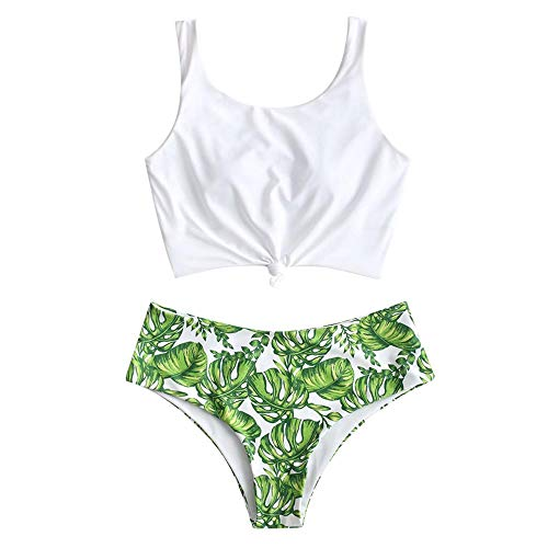 ZAFUL Women's Scoop Neck Tropical Leaf Knotted Two Pieces Tankini Set Swimsuit (Multi-B, L)