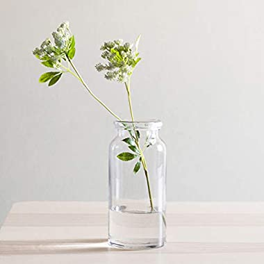 CASAMOTION Vases Hand Blown Art Glass Vase, Centerpiece Vases for Table, Clear, 12''