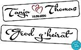 liebesmasche Original KFZ-Kennzeichen Hochzeit Autoschilder Hochzeitsschilder Namensschilder Grod g'heirat mit Datum u. Namen 0201-5