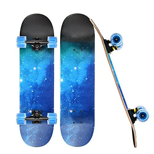 CLCL Skate Longboard Scooter Freestyle Tabla Completa de Arce y PU con Ruedas Intermitentes para Niños y Niñas Ckateboard Adulto Completo 31 Pulgadas Skateboards Longboards,Blue Night Sky