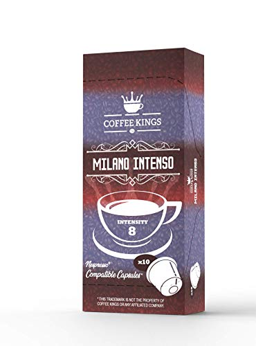 100 Nespresso Compatible Capsules Coffee Kings – Dark Coffee Pods for Nespresso Machines – Dark Nespresso Capsules – Nespresso Dark Pods Coffee Accessories - Milano Intenso Blend