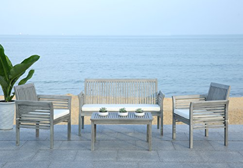Safavieh 4-Piece Outdoor Collection Carson Patio Set, Grey Wash and Beige