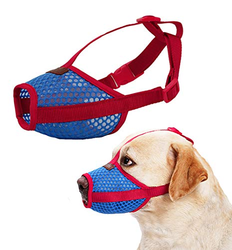 Nylon Dog Muzzle - Anti-Biting Barking Secure Fit Dog Muzzle - Mesh Breathable Dog Mouth Cover for Small Medium Large Dogs (Large)