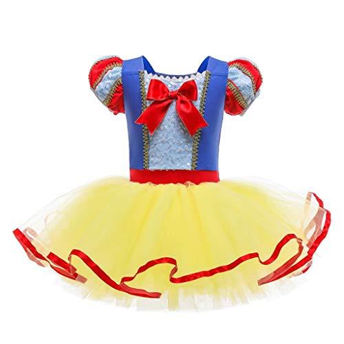 Lito Angels Disfraz Bailarina de Ballet Princesa Blancanieves para Niñas, Vestido Maillot de Danza Baile con Falda Tutu, Talla 2 a 3 Años, Amarillo