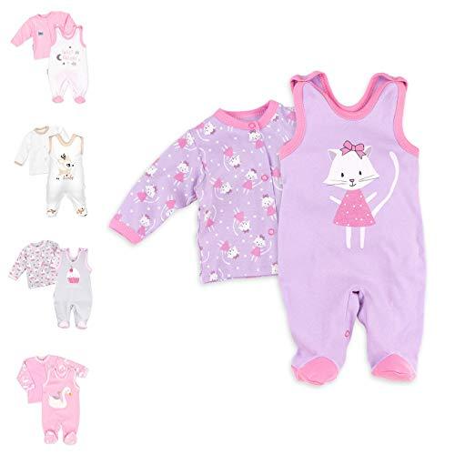 Baby Sweets 2er Strampler Set & Shirt für Mädchen und Jungen Verschiedene Größen, Flieder - Sweet Kitty, 3 Monate (62)