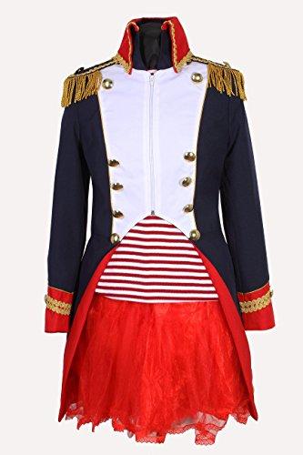 M&G Atelier Napoleon Jacke Damen Karnevalskostüm Uniform Fasching Gehrock Köln 36-50 Blau Weiss (48)