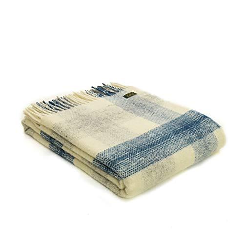 Tweedmill Textiles Decke / Überwurf, 100 % Wolle, kariert, hergestellt in Großbritannien, Tintenblau