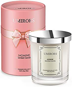 Umirors Jasmine Highly Scented Aromatherapy Soy Candles 8 Oz Jar Candle