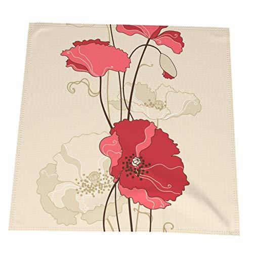 Ye Hua Stilisierte Mohnblumen-Tischsets im Jugendstil, waschbare Tischsets aus Polyester, Elegante Tischsets für den Esstisch 2er-Set