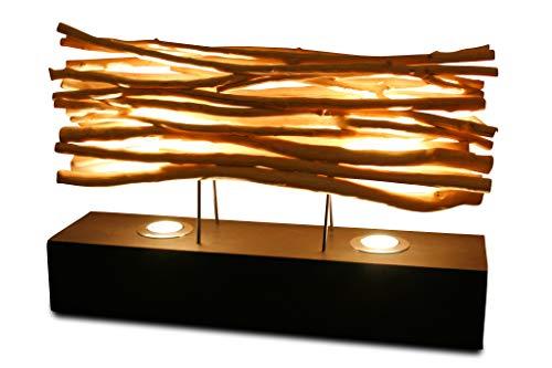 Kinaree Lampe de table en bois flotté - 60 cm - Lampe de table avec 2 spots LED en bois flotté - Convient pour le salon, le couloir, la chambre à coucher ou la salle de bain