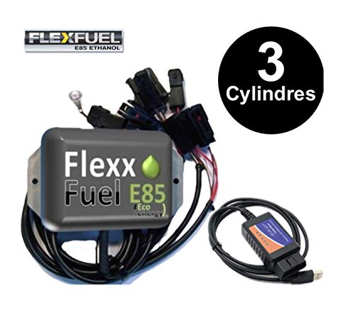 Kit Ethanol Flex Fuel - E85 - Bioethanol - 3 Cylindres + Interface de Diagnostic ELM327 - Compatible avec Renault, Peugeot, Citroen, Ford, BMW, Audi. (Delphi)