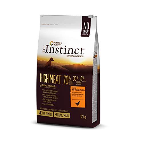 True Instinct High Meat Junior - Nature's Variety - Pienso para Cachorros Medium/Maxi con Pollo Deshuesado - 12kg