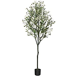 CROSOFMI Artificial Olive Tree Plant 5.9 Feet Fake Topiary Silk Tree, Perfect Faux Plants in Pot for Indoor Outdoor House Home Office Garden Modern Decoration Housewarming Gift,1 Pack
