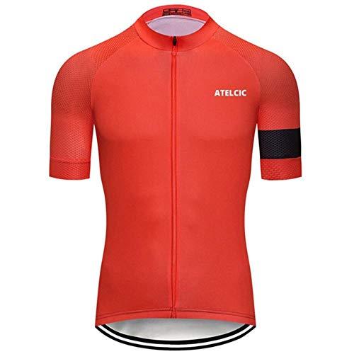Atelcic Maillot para Ciclismo MTB Spinning Ciclismo de Carretera, Traje de Ciclismo Manga Corta Verano para Hombre y Mujer (Rojo Basic, M)