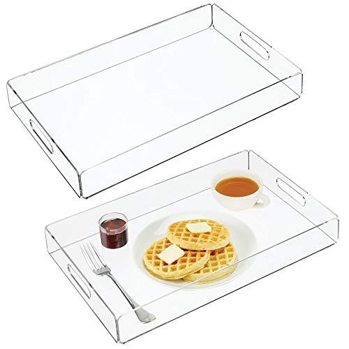 mDesign Juego de 2 bandejas de plástico – Bandeja con asas – Bonitas bandejas de desayuno para servir de forma elegante queso, café, etc. – transparente