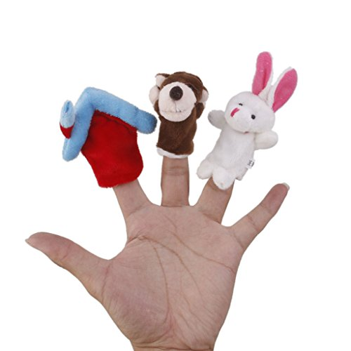 Ensemble De 3pcs Marionnettes à Doigt - Le Loup Et Le Lapin