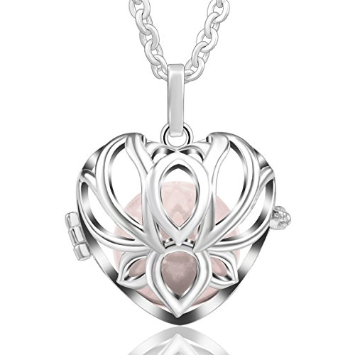 EUDORA Harmony Ball Schwangerschaft Lange Halskette Lotus Lucky Bell 18mm Relax Chime Anhänger für Mama 114,3 cm Kette