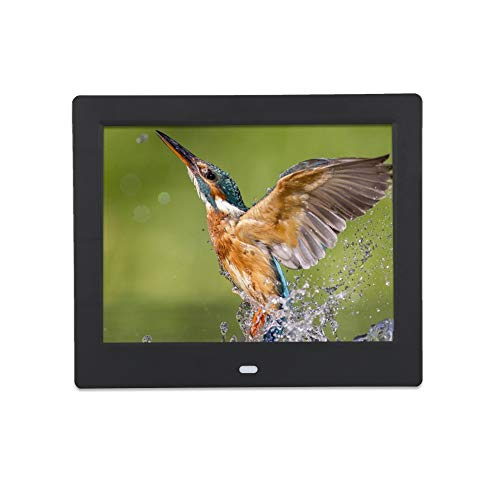 8 Inch Digital Photo Frames,1024X768 LED Display Screen Picture Frame with Remote Control,Alarm Clock,Music,Movie Player Support JPEG/JPG, BMP, GIF photo play ,compatible with SD, MS, U Disc(Black)