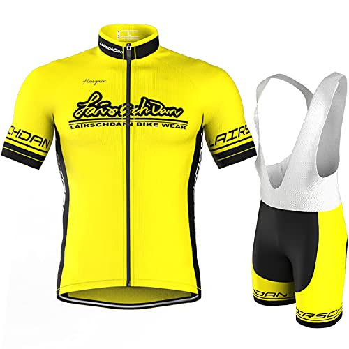 COMEIN Maillot Ciclismo Corto De Verano para Hombre, Ropa Culote Conjunto Traje Culotte Deportivo con 9D Almohadilla De Gel para Bicicleta MTB Ciclista Bici (Corto Amarillo, XXXL)
