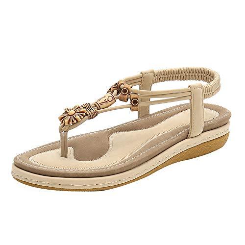 T-Bracelet Femme Bohême Perles Thong Sandal Pente Sandales Clip Toe Slingback Sandales-apricot-39MEU