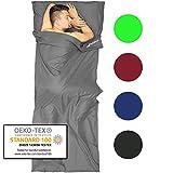 Fit-Flip Sábana Saco de Dormir Ultraligero de Microfibra, Sábana de Viaje, Saco de Dormir de Seda, Saco de Dormir Compacto con Cremallera, Saco de Dormir de Verano - Color: Gris