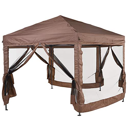 Outsunny Hexagonal Garden Gazebo Patio Party Outdoor Canopy Tent Sun Shelter Adjustable with Mosquito Netting Zipped Door - Brown