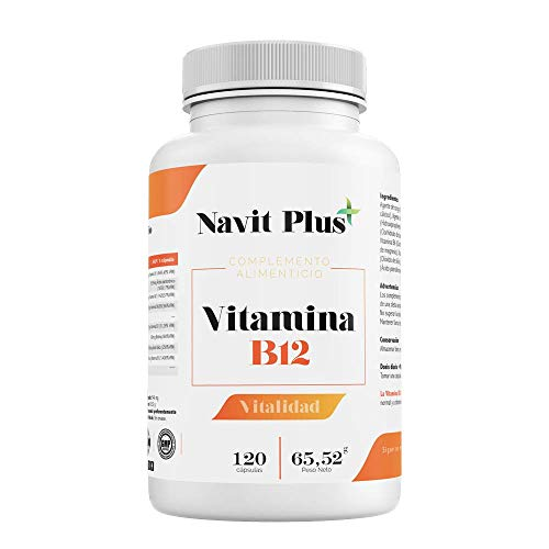 Vitamina B12 Navit Plus | 120 Cápsulas vegetales. Complemento alimenticio con B1, B2, B3 y B6, esenciales para el óptimo cuidado de la salud. Complejo vitamínico natural. Fabricado en España. ISO9001