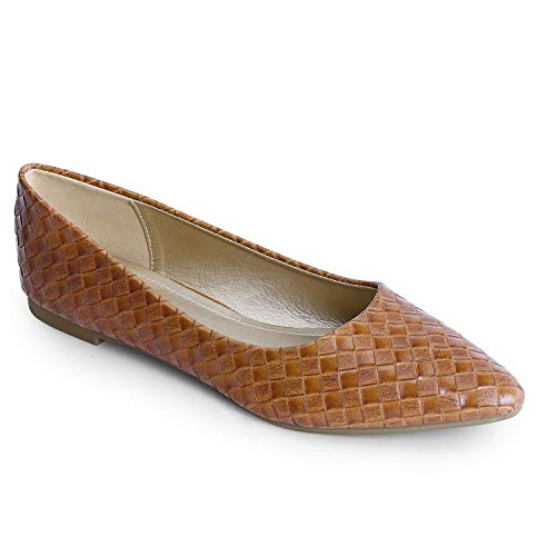 Trary Women's Classic Pointed Toe Slip on Ballet Flat Shoes PU Brown 07