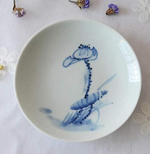 JISHIYU Rund Porzellan Teller-6 Inches - Handbemalte Craft Dinnerplates - Geeignet for Kühlschränke, Backöfen, Mikrowellengeräte, Geschirrspüler, Desinfektion Schränke Dinner Plates Teller Set