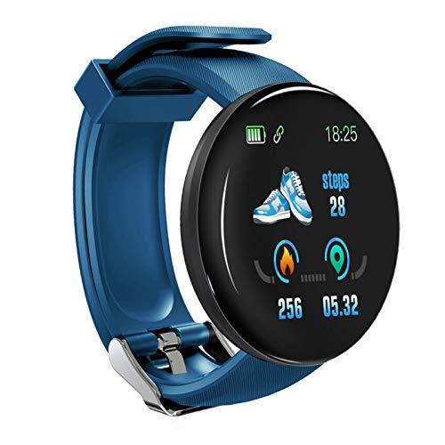 XUEXIU Smart Watch Hombres Presión Arterial Redonda SmartWatch Mujeres Impermeable Deporte Rate Corazón Fitness Relojes para Android iOS Teléfono (Color : Blue)