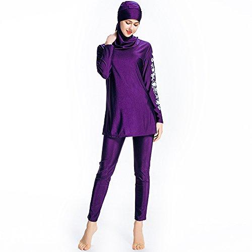 Islamischer Plus-Size-Badeanzug in Blumendesign, für Frauen mit Hijab und Moslems/Arabische Frauen, als Strandmode und zum Schwimmen, violett