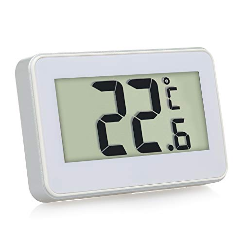 Termómetro de refrigerador,Funien Termómetro de refrigerador digital LCD Termómetro de refrigerador y congelador con soporte ajustable Imán Alerta de escarcha Uso en el hogar
