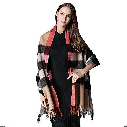YANHTSO Reiner Wolle Plaid Schal Herbst und Winter große Schal Multi-Länge lange koreanische Dicke warme Wolle Schal (Farbe : C)