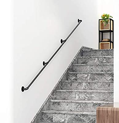 DIYHD 13FT Stair Black Pipe Handrail with 3 Wall Mount Supports,Rustic Black,Round Corner Style