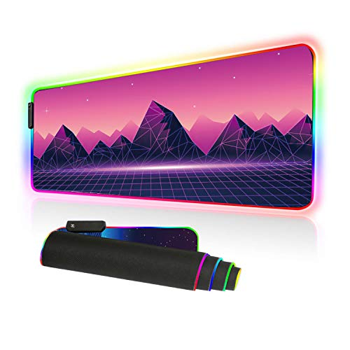 Imegny Led Gaming Mouse Pad Oversized Glowing Mat Colorful Soft Mat for Mice Computer Keyboard with Non-Slip Rubber Base Water-Resistant (80x30 rgsynthwave004)