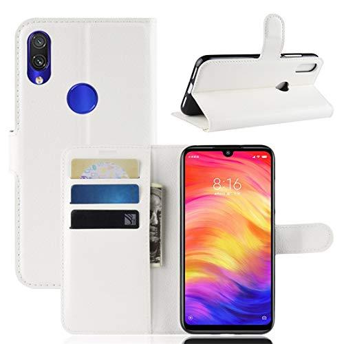 subtel® Handytasche kompatibel mit Xiaomi Redmi Note 7 Global PU Leder Schutzhülle mit Kartenfächern Hülle Flip Hülle Tasche Flip Cover Klapphülle Book Hülle Etui Wallet weiß