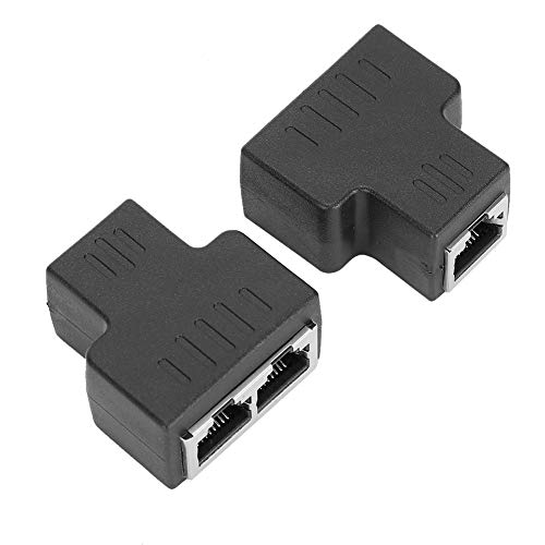 Schwarzer 2PCs Cable Extender Splitter, 1 in 2 Out RJ45 Ethernet Kabelschnittstelle, LAN Anschluss Cable Extender Split, kompatibel mit ADSL, Hubs, Switches, Fernsehgeräten, Set Top Boxen usw.