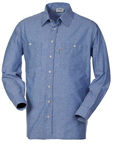 LANCELOT Camicia Uomo da Lavoro Cotone Oxford Azzurra Manica Lunga HH026 (M)