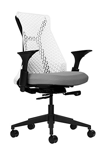 Bowery Fully Adjustable Management Office Chair (White/Grey)