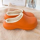 QPPQ Zapatillas de algodón para mujer y hombre, zapatillas de invierno impermeables y cálidas, zapatillas de algodón antideslizantes-naranja_6.5-7, cómodas zapatillas de algodón para interiores