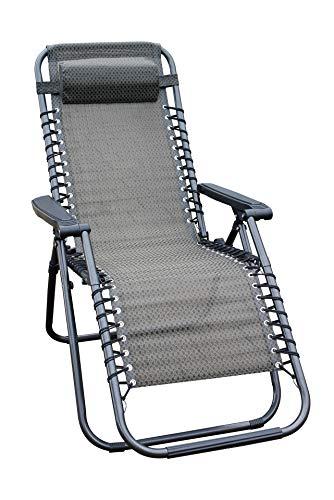 Relaxsessel mit Kopfkissen in Taupe - stufenlos verstellbar - Sonnenliege Hochlehner Gartenliege Gartenstuhl Liegestuhl klappbar