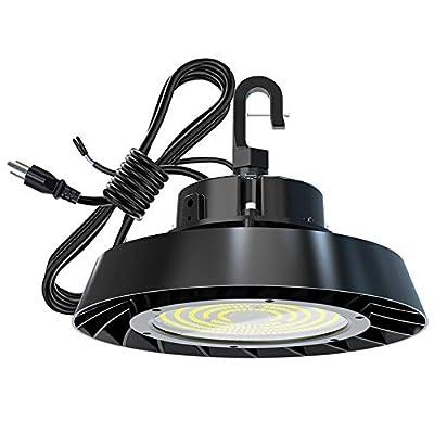UFO LED High Bay Light ETL DLC Certified 150W 21,000lm with Hanging Hook Industrial Lighting 1-10V Dimmable LED Shop Lights Garage Light Warehouse Workshop Lighting