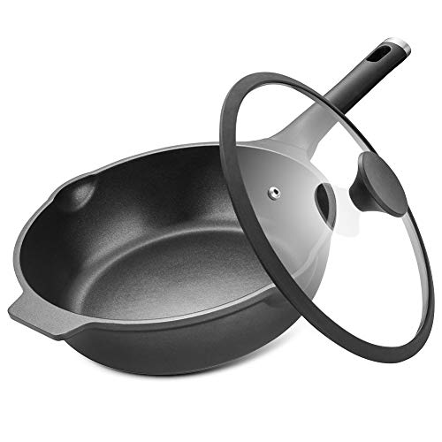 Woks Pan With Lid 3-Layer Nonstick Die-Casting Aluminum Frying Pan 100% PFOA Free Stir Fry Flat Pan With Glasses Lid 11 Inches 4L Induction Compatible