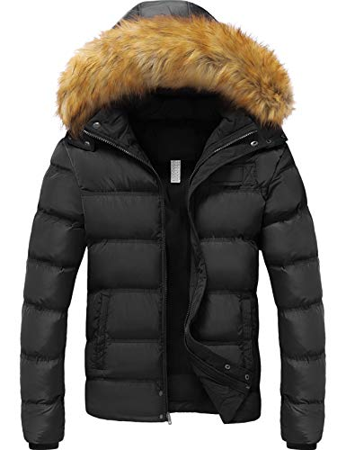 YXP Men's Winter Thicken Cotton Coat Warm Puffer Jacket with Removable Fur Hood (Black,Small)