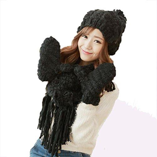 SALY Ladies Inverno Lovely Spessi Caldi Sciarpe Guanti di Cappello Regali di Natale-3 pz