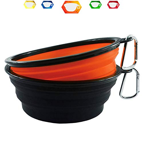 Himi 34 Ounce Silicone Collapsible Travel Dog Bowl - Set of 2 Large Size 1000ML - Portable Pet Bowl Food&Water - Premium Quality Travel Pet Bowl Solution (Orange-Black)