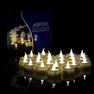 AGPTEK 100 PCS Flameless Tea Lights, Battery Operated No Flicker Steady LED Candles for Holidays Party Wedding - Warm White