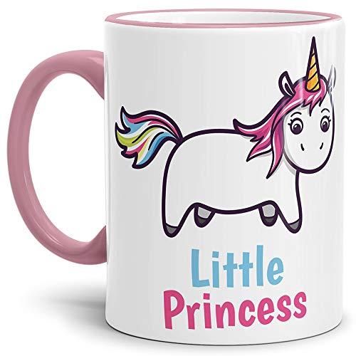 Tassendruck Unicorn/Einhorn/Farbtasse Rand und Henkel Rosa mit Spruch - Kaffeetasse Mug Cup Little Princess - Qualität Made in Germany